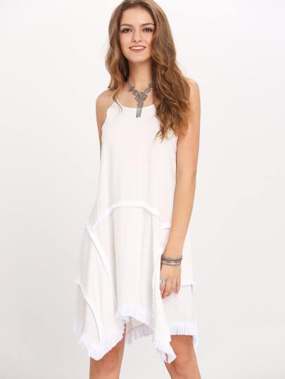 White Asymmetric Hem Raw Trim Shift Dress