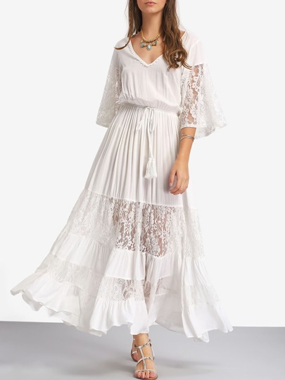 Bell Sleeve Contrast Lace Tie Waist Maxi Dress