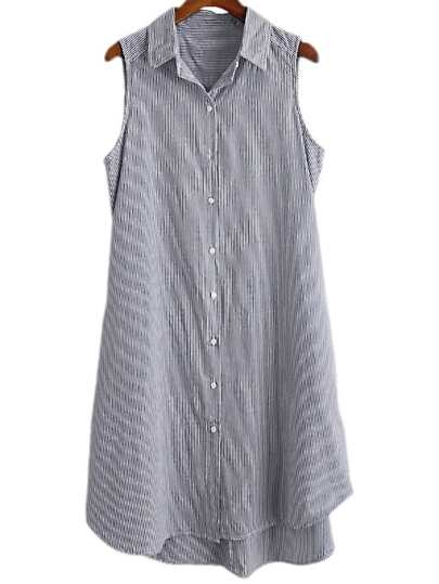 Light Blue Thin Stripe Buttons Front Shirt Dress