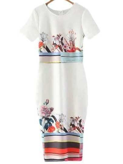 Multicolor Short Sleeve Split Back Print Midi Dress