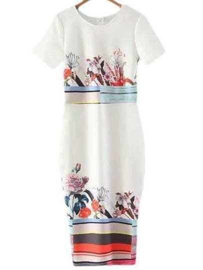 Multicolor Short Sleeve Split Back Print Midi Dress