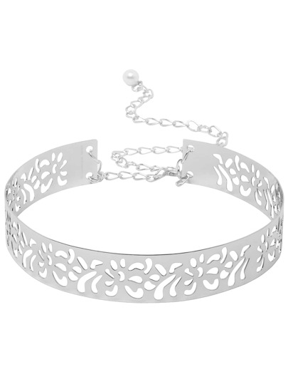 Silver Cutout Metal Belt With Chain And Clasp Closure