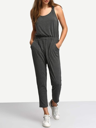 Grey Y-Back Slim Jumpsuit