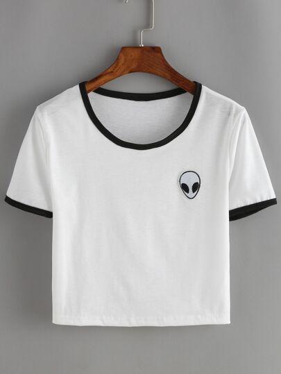 T-shirt corto bianco con stampa