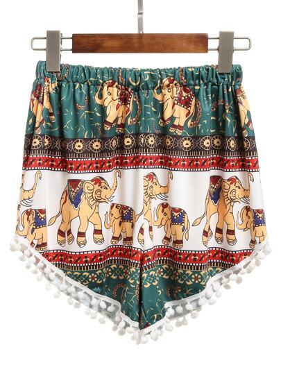 Elastic Waist Elephant Print Pom Pom Shorts