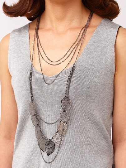 Gun Color Cut Out Leaf Layered Necklace