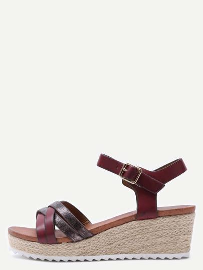 Sandales à semelle haute en similicuir avec lanière croisé - rouge