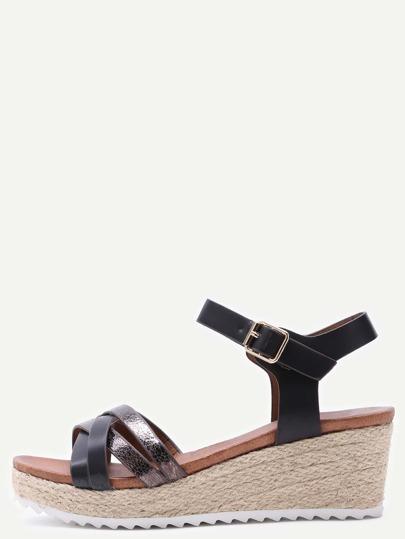 Black Cross Straps PU High Heeled Sandals