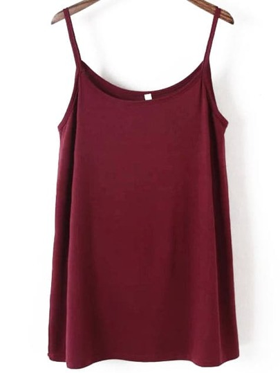 Spaghetti Strap Burgundy Cami Dress