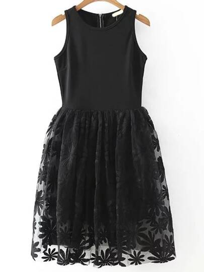 Sunflower Embroidered Black Flare Dress
