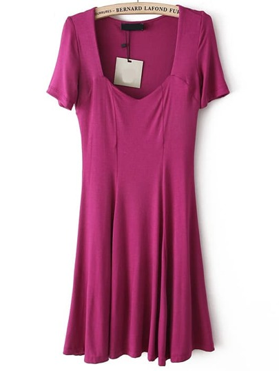 Square Neck Pleated Purple Dress