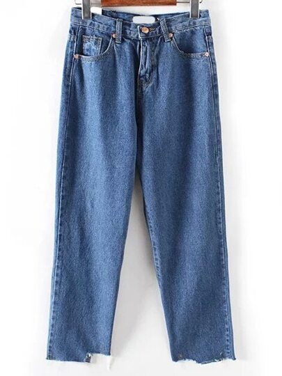 Frayed Wide Leg Denim Blue Pant