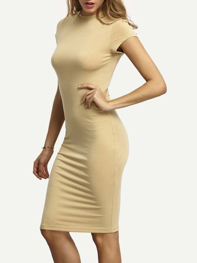 Nude Crew Neck Slim Sheath Dress