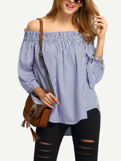 Shirred Off The Shoulder Tie Cuff Blouse