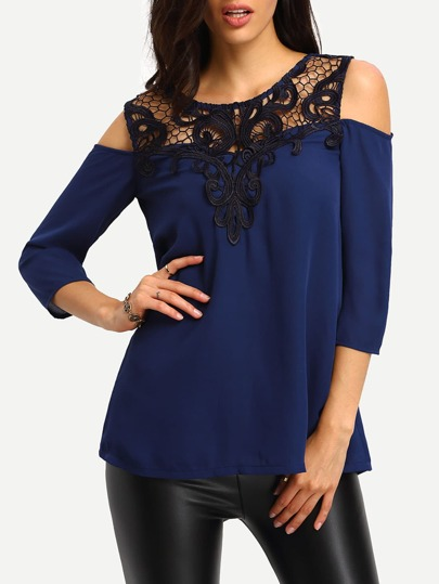 Deep Blue Cold Shulder Lace Yoke Chiffon Blouse