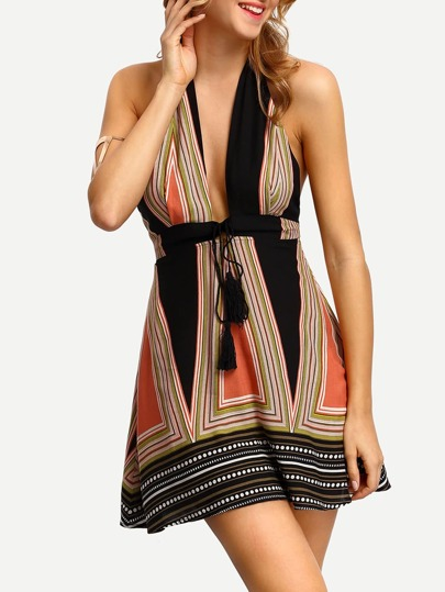 Multicolor Halter Neck Plunge V-neck Tassel Tie Dress