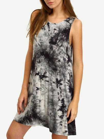 Black Crew Neck Ink Print Tie-dye Casual Dress