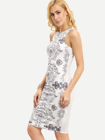 White Sleeveless Tribal Print Sheath Dress