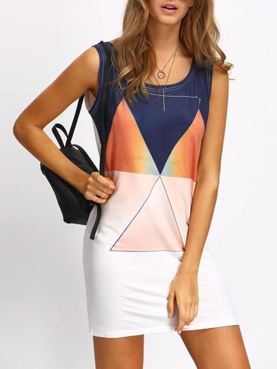 Color-block Geometric Print Tank Dress