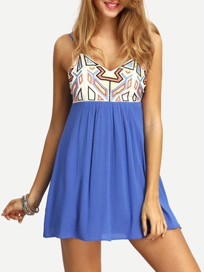 Spaghetti Strap Geometric Print Lace Up Dress