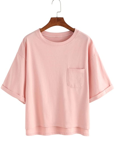 Dip Hem Cuffed Pocket T-shirt