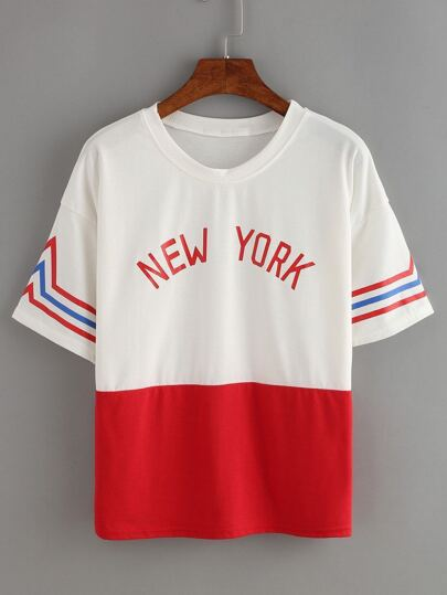 Contrast Red Striped Trim Letters Print T-shirt