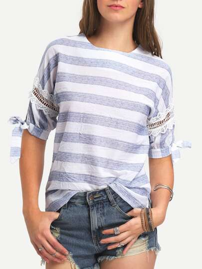 Striped Contrast Lace Knotted T-shirt