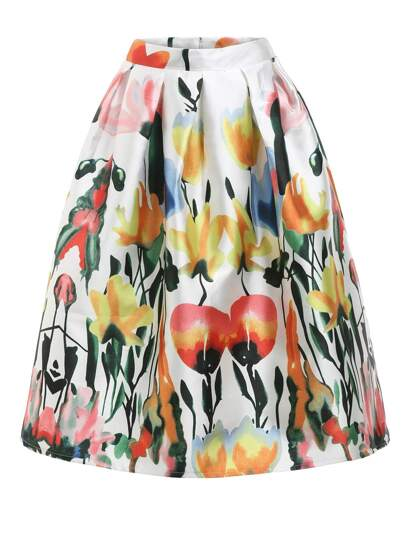 Florals Flare Skirt With Zipper