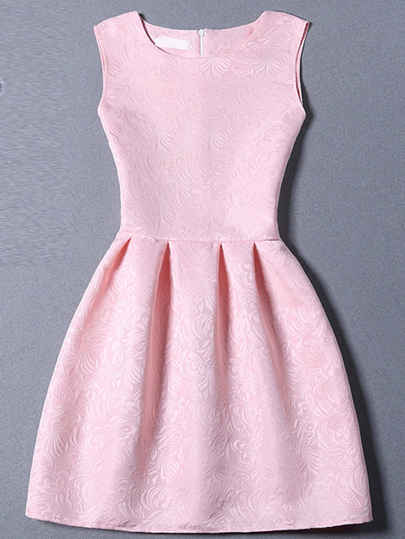 Pink Sleeveless Jacquard A-Line Dress