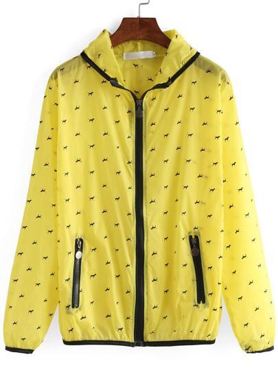 Hooded Zipper Dog Print Jacket
