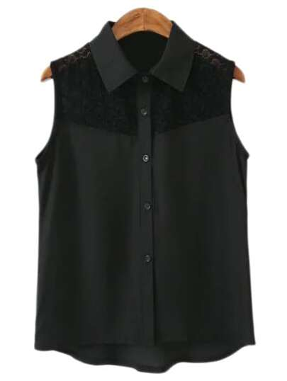Black Buttons Front Lace Splicing Chiffon Blouse