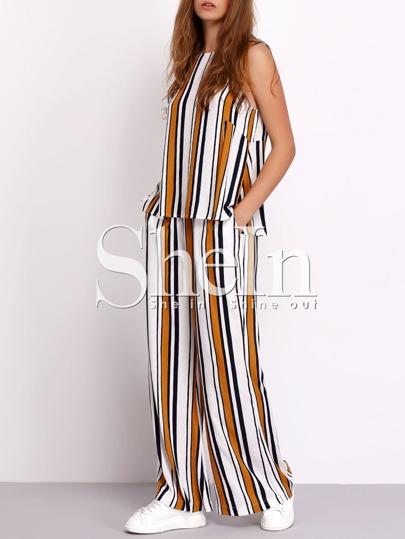 Dos piezas rayas verticales sin manga con pantalones largo
