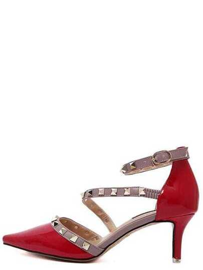 Red Point Out Studded Ankle Strap Heels