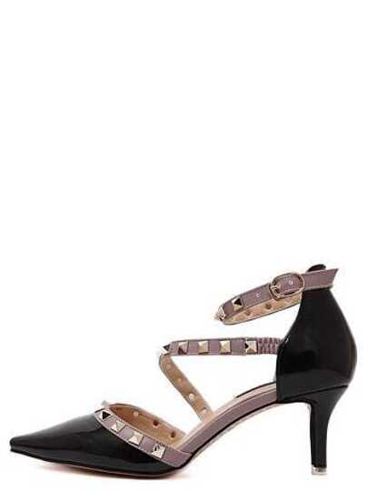 Black Point Out Studded Ankle Strap Heels