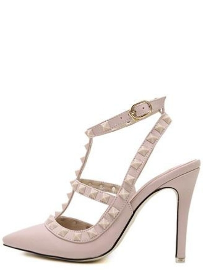 Pink Point Out Studded Slingbacks Heels
