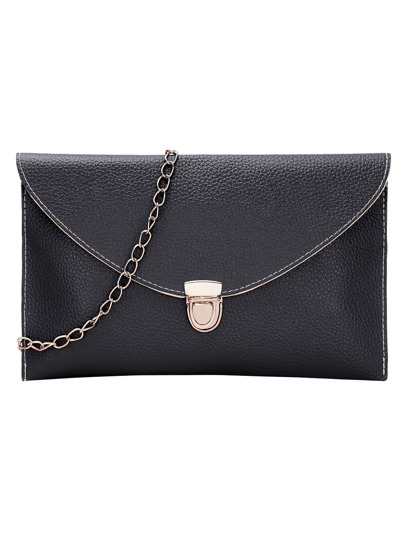 Black Envelope Clutch With Chain