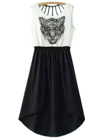 Black White Tiger Head Print Cut Out High Low Dress