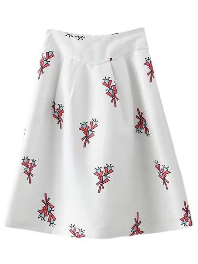 White Zipper Back Print Skirt