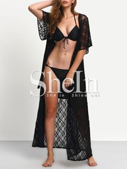Black Lace Short Sleeve Beach Cardigan
