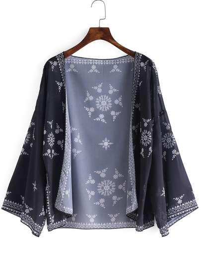 Flower Print Open Front Chiffon Kimono