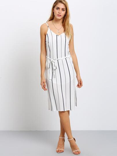 robe fendue à rayure