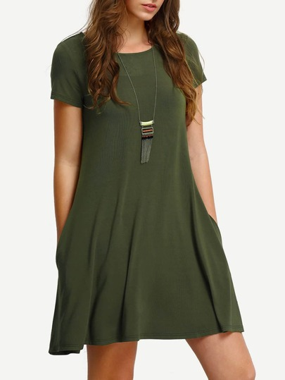 Army Green Short Sleeve Casual Shift Dress