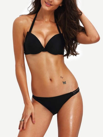 Halter Ladder-Cutout Bikini Set