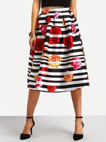 Striped Rose Print High Waist A-Line Skirt