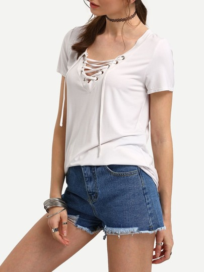 White Lace-up Front Short Sleeve T-shirt