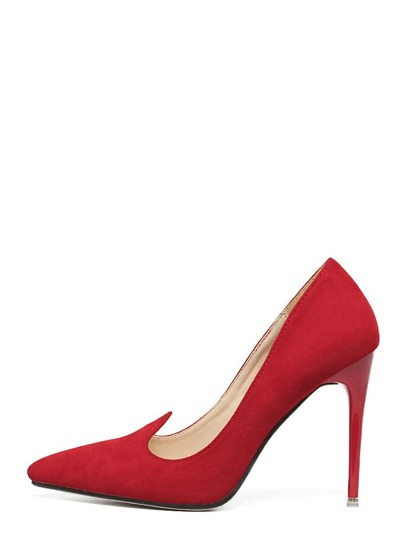 Red Faux Suede Pointed Toe Pumps