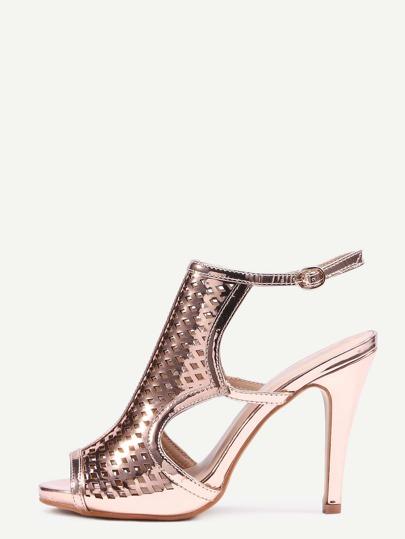 Rose Gold Laser-Cut High Vamp Heeled Sandals