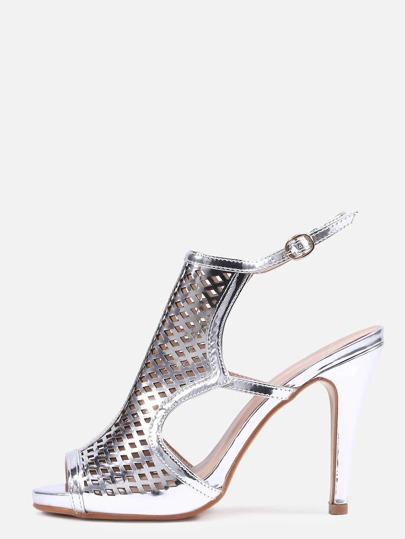 Silver Laser-Cut High Vamp Heeled Sandals