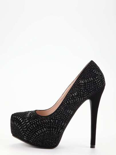 Black Glitter Platform Pumps