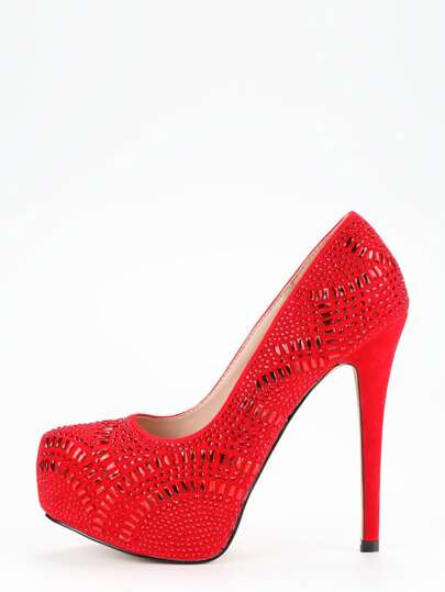 Red Glitter Platform Pumps